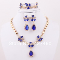 New style fashion charming gift jewelry set 18K Dubai gold plated blue cz crystal party bridal jewelry sets