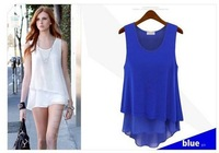 [S1417]2014new women's candy-colored stitching fake two wild chiffon camisole dress shirt bottoming
