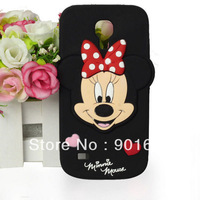 Free Shipping 1pcs/lot 3D Cute Minnie Mouse Soft Silicone Case Cover for Samsung Galaxy S4 Mini i9190 Cell Phone