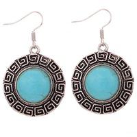 Round Vintage Pattern Edge Design Tibetan Silver Earrings Turquoise Women Gift For valentine's Day