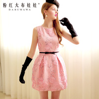 2014 pink sequin embroidery stereo disk flowers sleeveless for women's  party dress