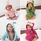 New Hooded Animal modeling Baby Bathrobe/Cartoon Baby Towel/Character kids bath robe/children's bathrobe 5 colors 18394 Z(China (Mainland))