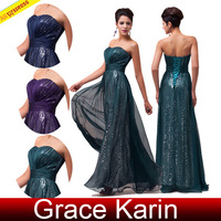 Free Shipping Grace Karin Stock Women Navy Blue Strapless Sequins Chiffon Ball Gown Evening Prom Party Dress CL6005