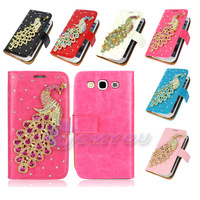 Luxury Diamonds 6X Colors Peacpcks Magnetic Smooth Leather Wallet Flip Hard Case Cover For Samsung Galaxy S3 I9300 Free Shipping