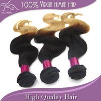 Mix length 3 bundles lot two tone black 1B#-27# blonde Raw virgin remi Malaysian body wave ombre hair weaving