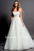 Sweetheart A Line Brush Sweep Train tulle Chantilly Lace beads White Sexy Beading Wedding Dresses