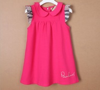 Retail New Brand 1pcs Girl's Cotton Short Sleeve Dresses /Children's Summer Dress/Baby Kids Cute Party Gowns+Free Ship