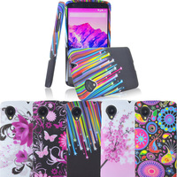 Free shipping Patterned GEL Silicone Flower TPU soft Case Cover SKIN For LG Google Nexus 5 D820 D821