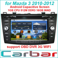 Pure Android Car DVD GPS Player for Mazda 3 2010-2012 Russian Menu Support 3G Wifi OBD DVR Car Audio Car Navigation Car Radio