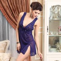 Summer nightgown anna lace spaghetti strap underwear gauze sleepwear V-neck racerback temptation nightgown