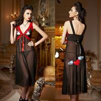 Anna gauze sexy fashion sleepwear female transparent lace deep V-neck long design nightgown lace underwear