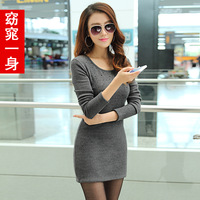 2013 winter plus velvet thickening women's thermal slim long-sleeve o-neck fashion basic one-piece dress