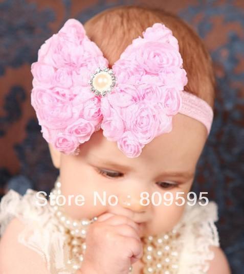 Free shipping , 12 pcs/lot New Arrival Baby Girl Headdress 11cm Chiffon Rose Flower Bow DIY Headband Hair Accessories(China (Mainland))