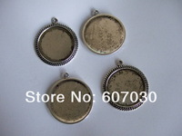1 inch Antique Silver Round Pendant Trays, Blank Pendant Bases, 25mm Bezel Pendant Settings for Glass or Stickers