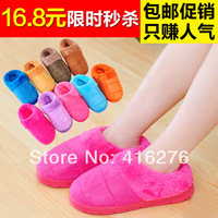 free shipping  autumn and winter thermal plush slippers at home lovers cotton-padded package with slippers platform