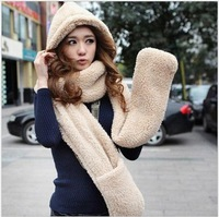 Free shipping winter autumn new style girls fashion cute  gloves hats and scarves  for women triple solid plush scarf wholesale