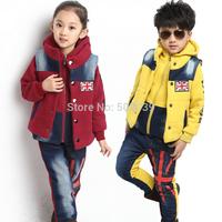 Winter children's clothing male female child autumn and winter 2013 medium-large child sweatshirt three pieces sportswear set