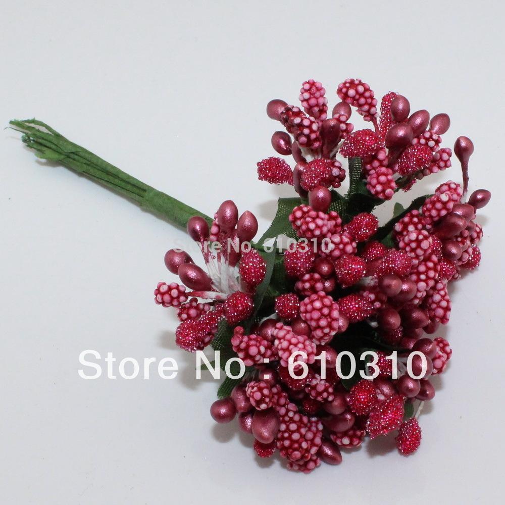 Grátis frete Mulberry partido da flor vermelha estame caule / casamento fio folhas e estame caixa casamento decoration144pcs / lot(China (Mainland))