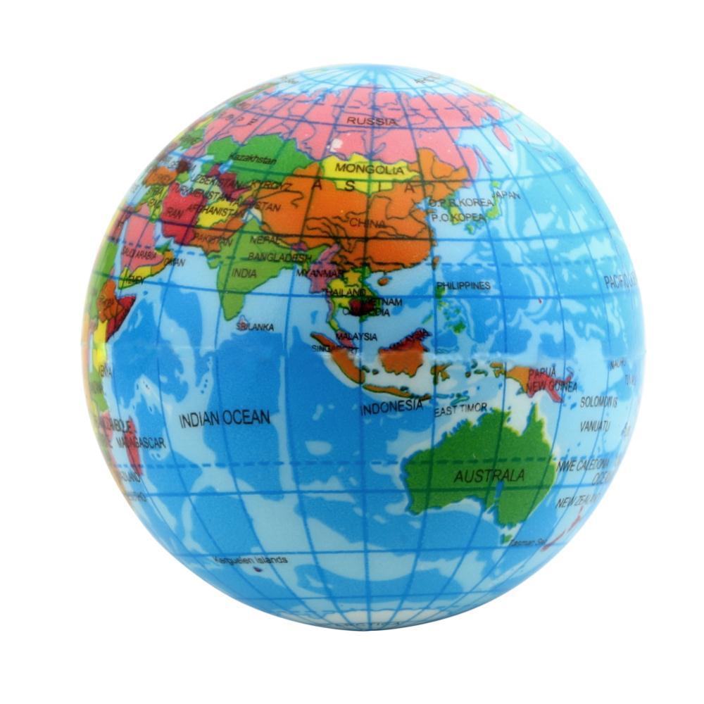 1pcs Foam blue World Map Earth Globe Bouncy Ball Atlas Geography Toy Free Shipping Wholesale(China (Mainland))
