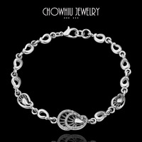 Chow Elegant Shell Design Bracelet Platinum Plated Charm Bracelet White Gold Quality Crystal Fashion Jewelry Nickel Free B033