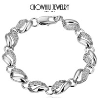 Chow Elegant Luxury Party Bracelet Platinum Plated Charm Bracelet White Gold Quality Fashion Jewelry Nickel Free 18K B020