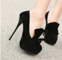 2014 new  14cm high heels sexy women pumps platform red bottom wedding shoes size 4 thin heels platform A071 black flock leather