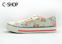 Free shipping2014 spring new fashion style women's low plat flowers canvas sneakers breathable