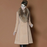 High quality noble big raccoon fur shawl collar super smooth cashmere overcoat