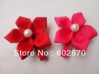 Free shipping 20pcs/lot 16mm ribbon korean style hair clips lovely little petal flower bows for  girls hair accessories
