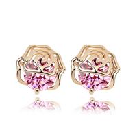 Korean Fashion  Flash Drilling  Zircon Stud Earrings  18K Gold Filled  Designer Jewelry  Rose  Accessories For Women