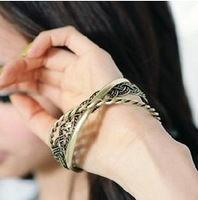 Sakura's Store B3254 vintage fashion knitted trinuclear bracelet cool multi-layer bracelet