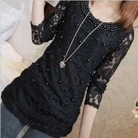 New 2015 Spring blouse slim lace bottoming shirt long sleeves blusas temperament blusa Casual dress Fashion Vestidos render