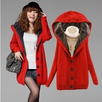 Plus Velvet Thickening Yarn Overcoat Fashion Long Design Cardigan Loose Sweater Outerwear