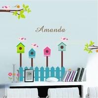 High quality 120cm*90cm Bird powder cartoon wall stickers child wall stickers