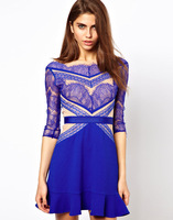 three floor veneer stitching lace long-sleeved dress Blue lace dress Spring summer celebrity dresses
