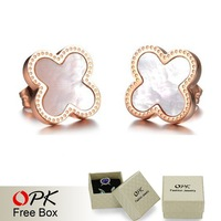 OPK JEWELRY 2014 Fashion Authentic shell Lovely cross personality girls big stud earrings rose gold plated delicate jewelry