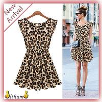 New 2014 women dress Elegant Classical Vintage O-neck Sleeveless Pinup Beach Leopard dress Loose Casual Girls Mini Print Dresses