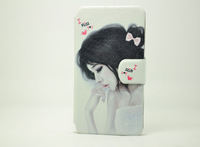 Nload' Brand Stander PU Wallet Filp Case For Lenovo A706,Girl Anmial Plant Pattern Cover For A706 Free Shipping
