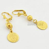 New Women Girls Fashion Jewelry Bead Circle Dangles 18K Yellow Gold Filled Drop Earrings Free Shipping GFE21