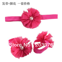 10sets/lot Shabby Flower sandals Barefoot Sandals +10 shabby flower headbands 15Colors in sotck free shipping