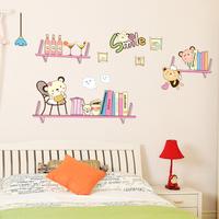 Free shipping modern wall art home decoration wall stickers children's room wall decal cute bear book shelf WS30