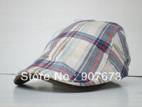 Free shipping Duck Tongue Beret hat Casual grid cotton Fashion Cap Unisex Men Wonan EC6