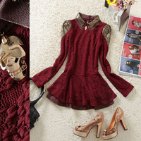 Free shipping! 1204 winter turn-down collar gold thread embroidered lace double layer sweep shirt female 145a001