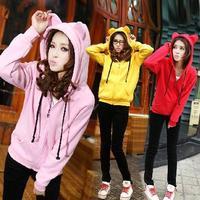 2014 new cute animal cat ears hooded thickening hoodie outdoor fun & sports warm fleece zipper cardigan hoodies for women D1206