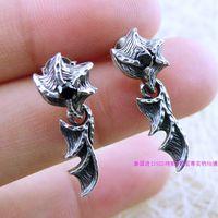Demon wings thai silver 925 pure silver stud earring