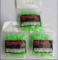 300 X Premium Quality Fishing Lumo Soft Glow Beads Green Oval 7x10mm with Free Postage