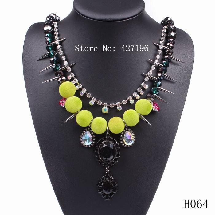 fashion 2015 designer necklace luxury punk style spike women statement fluorescent ball necklace(China (Mainland))