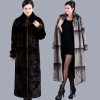 Женская одежда из меха Quinquagenarian Mother's fur coat Women's imitated marten velvet overcoat female winter imitation mink jacket