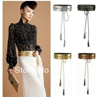 Fashion Womens PU Leather Wide Waist Belt Waistband Tie Tassels Cummerbund HOT