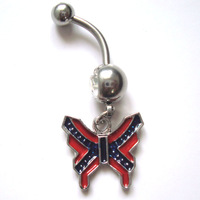 JF-J025  Clear color belly button ring  The Butterfly  style